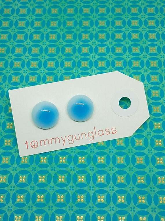 Blue and White Glass Stud Earrings