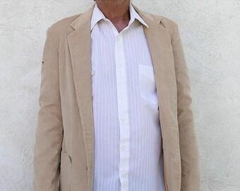 1/2 Off SALE Vintage Corduroy Jacket, Men's Medium Beige Sports Coat, Happy Fathers Day