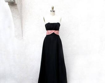 1/2 Off SALE Vintage Black Strapless Gown, 50s Long Prom Dress, 1950 Pink and Black, Bias Cut