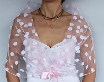 Tulle Bridal Shawl, Pastel Pink Polka Dot Shoulder Stole Shrug, Evening Dress Cover,  Romantic Modern Wrap Shabby Chic Wedding Top