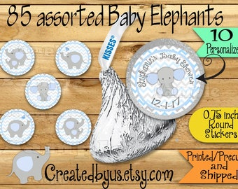 85 Chocolate kiss stickers Elephant baby boy shower stickers Elephant Chocolate Stickers Baby Elephant Kisses Labels Thank you Party Favors