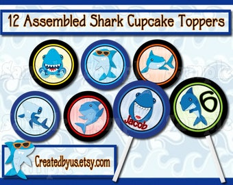 Shark Cupcake Toppers Shark Party Decorations Shark Birthday party favor cupcake pick cake topper cupcake top Beach Birthday 12 assembled