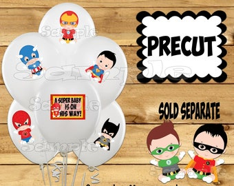Baby Boy Superhero Balloon Stickers Super baby Party favors Table decorations Tablecloth stickers Superhero Birthday stickers Precut Custom