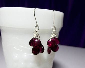 40% OFF SALE thru Tues Ruby Red Quartz Cluster Gemstone Earrings, Valentines Mothers Day Bridesmaid Mom Sister Girlfriend Wife Birthday Jewe