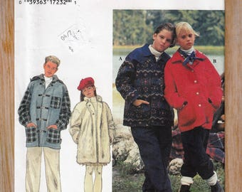 "1990's Boy's Girls' Sewing Pattern Jacket Coat Button Down Pockets Size 7-8-10 Chest 26-27-28.5"" Simplicity 9776 UNCUT"