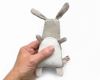 Bunny Rabbit Toy, Bunny Rabbit Softie, Bunny Plushie, Handmade Toy Bunny, Small Grey Bunny Art Doll, Kids Birthday Gift, Plush Toy Bunny