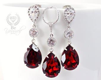 Dark Red Bridal Earrings Ruby Bride Necklace Swarovski Crystal Siam Teardrop Wedding Jewelry Sterling Silver Garnet Bridesmaid Gift Zirconia