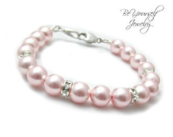 Soft Pink Bridal Bracelet Blush Pearl Bride Bracelet Wedding Jewelry Swarovski Rosaline Pearls Pastel Bridesmaid Bracelet Wedding Bracelet