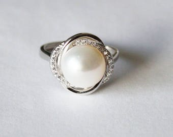 Fresh water pearl and CZ ring, Real pearl ring, Crystal and pearl ring, Bridal ring, Wedding pearl ring, birthday, Mother's gift, Christmas