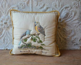 Gorgeous Songbird Inspired Vintage Decorative Pillow, White Throated Sparrow