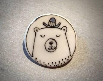 Doodle ceramic porcelain bowler hat bear pin brooch