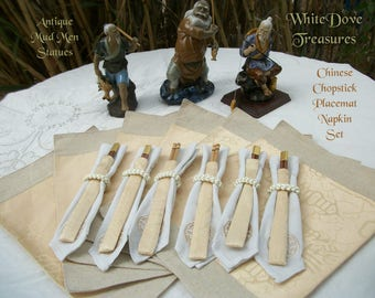 Chinese Chopstick Napkin Placemat Set ~ Mud Man Statues