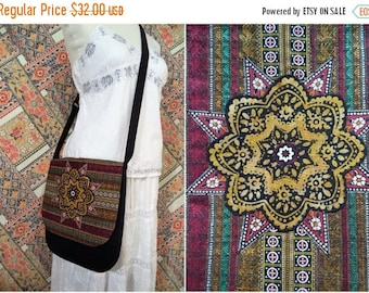 ON SALE Bohemian Bag by Boho Rain/ black and gold batik mandala messenger bag/ unique handmade boho bag/ burgundy black gold green crossbody