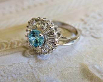 Vintage Cubic Zirconia and Aquamarine Ring Stering Ring Vintage Ring Gift for Her Wedding Ring Statement Ring Gift for Her Size 8