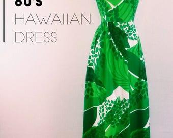 Vintage 60s green Malia Honolulu Hawaiian maxi dress - 1960s bright green and white floral summer long dress - medium