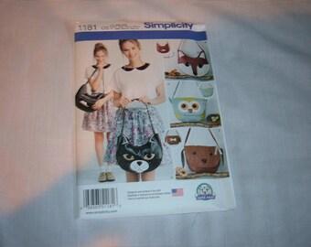 Simplicity Pattern #1181 for Animal Face Handbags-Uncut