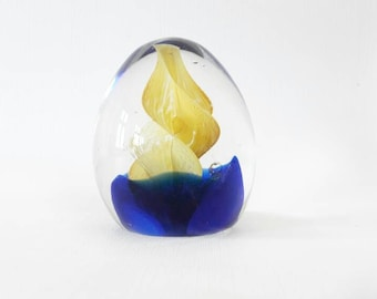 Vintage Art Glass Paper Weight Fire and Water Yellow and Blue