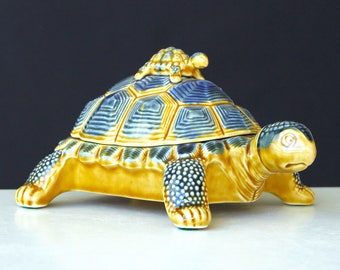 Vintage Porcelain Turtle Trinket Box with Baby Turtle on Shell