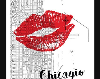 Chicago Street Map - Vintage - Print - Poster - Love Chicago - Kiss