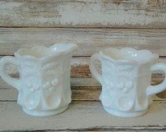 Milk Glass, Vintage White Cream and Sugar Set, Cherry and Thumbprint design, Westmoreland Glass Collectible, Wedding and Vintage Home decor
