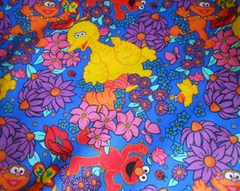Sesame Street Fabric Big Bird Elmo Characters Flowers 2000 Release  New By The Fat Quarter BTFQ