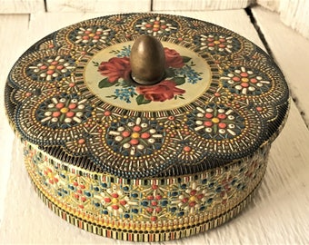 Vintage metal tin Moroccan jeweled mosaic tile with roses- lid- round- made in Holland- free shipping US