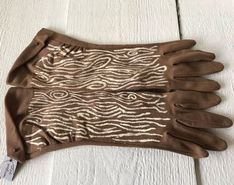 Vintage gloves hand painted light brown cotton mid length size medium woodgrain/ free shipping US