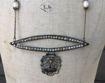 Art Nouveau luggage tag assemblage necklace
