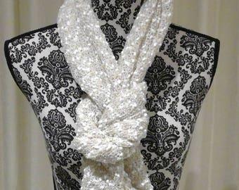 Pretty snowy scarf lemon/beige/palest green/white - loop endless circle scarf-tube eternity pastel romantic