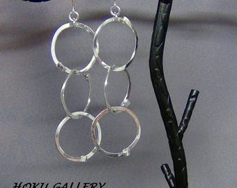 """Hammered Wirewrapped Earrings - 14ga Sterling Silver Round Wire, Rustic, A-symmetrical design  - 3.75"""" - Hand Crafted Artisan Jewelry"""