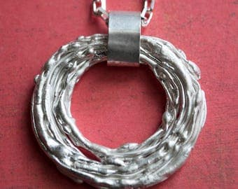 Nature Jewelry, One of a Kind, Fused Sterling Silver Pendant Necklace