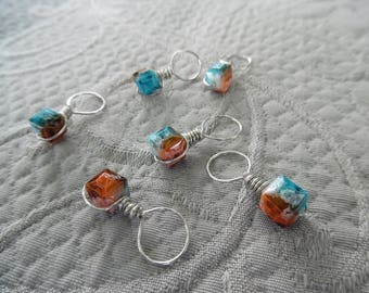 "Knitting Stitch markers, set of 6, ""Reef"",  up to 8 mm needles"