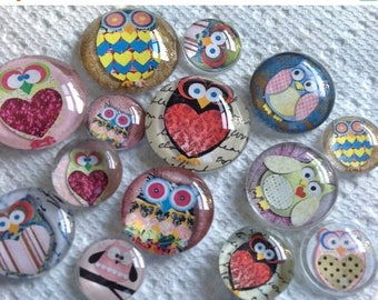 "Owls Dozen Owls Glass Fridge Magnet Set Twelve magnets owls in three sizes S(1/2 ""),M(1""),L(1.2"")"