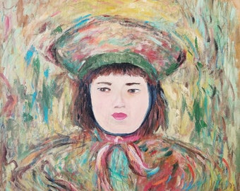 Portrait of an Asian Girl in hat -- Acrylic on Canvas Original Painting
