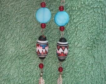 BEAUTIFUL Mother of Pearl Indian Style Dangle Earrings ...OOAK...495H...HaNdMaDe