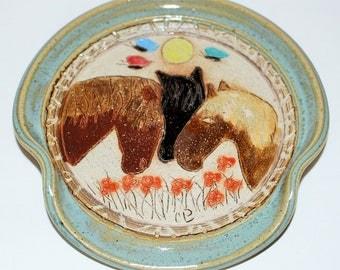 Spoon Rest Handmade Stoneware Pottery Three Horses