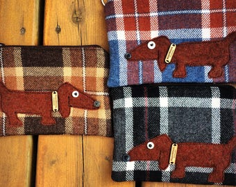 Plaid Puppy Wiener daschund Dog upcycled sweater keychain zipper pouch