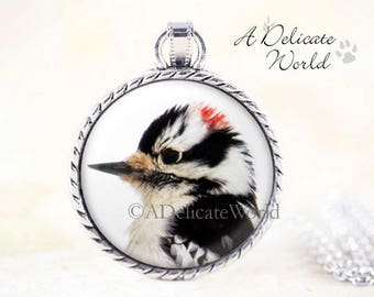 Downy Woodpecker Necklace - Woodpecker Pendant, Silver Bird Necklace, Black White Bird Pendant, Woodpecker Jewelry Pendant, Bird Jewelry