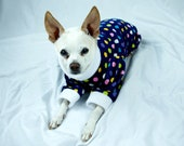 Blue Polka Dog Dog Pajamas, Dog Pajamas, Dog PJ's, Flower Pajamas for Dogs, Dog Clothing, Dog Sleepwear, Pet Sleepwear, Animal Clothing