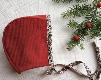 Bonnet.Baby Bonnet.Winter Bonnet.Christmas Bonnet.Red Bonnet.Corduroy Bonnet.Handmade Bonnet