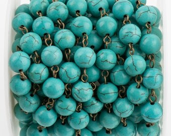 3 ft (1 yard) TURQUOISE BLUE Howlite Rosary Chain, bronze wire links, 10mm round stone bead chain, fch0715a