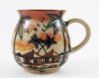 "Vtg MALAWI AFRICAN VILLAGE Mug ~ Cup / Ceramic Folk Art Pottery Mug made in Malawi, Africa / 4"" Tall / Dedza African Folk Art - Great Gif!"