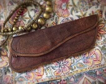Vintage Reptile Leather Clutch Snakeskin Alligator Skin Purse Handbag