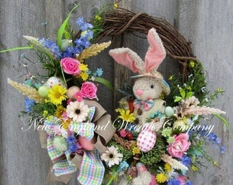 ON SALE Easter Wreath, Easter Bunny Wreath, Spring Wreath, Whimsical Easter Wreath, Victorian Easter, Designer Easter Wreath, Spring Floral