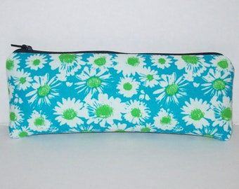 """Pipe Pouch, Blue Green Floral Bag, Glass Pipes, Flower Pipe Bag, Zipper Bag, Padded Pipe Pouch, Weed, Stoner Girl, Vape Pen Bag - 7.5"""" LARGE"""