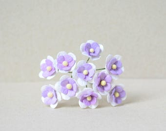 15 mm  /  10   Mixed Purple  and White  Mulberry Paper  Flowers