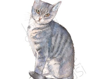 cat print of watercolor painting 5 by 7 size c23117 cat watercolor painting print
