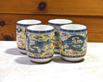 Vintage  Asian Chinese Dragon design Green Tea Cups