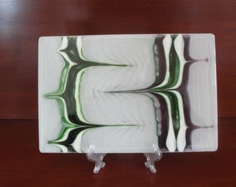 Fused glass tile in greens and purples, 8 by 12 inches