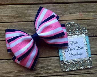 Pink navy and white hair bow , striped hair bow , 4 inch hair bow , pink and navy hair bow , hair bows for girls
